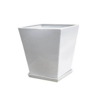 LO スクエアー 40 cm / 釉薬 陶器 インテリア / 植木 鉢 プランター 【鉢受皿 付 】 / 送料無料