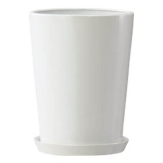 LO ラウンド 36 cm / 釉薬 陶器 インテリア / 植木 鉢 プランター 【鉢受皿 付 】 / 送料無料