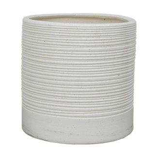 セラック シリンダー 40 cm / 釉薬 陶器 インテリア / 植木 鉢 プランター 【 ボーダーホワイト 】