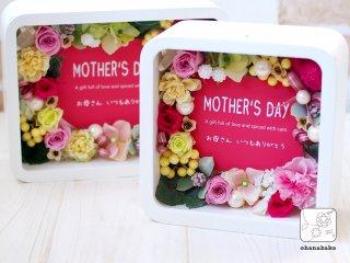 《送別/結婚祝い/母の日ギフト》メッセージカード付◎プリザーブドフラワーのカーネーションフォトボックスohanabako-cube