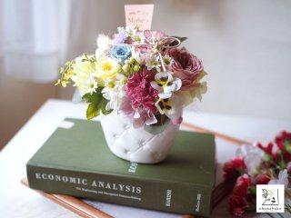 《クリアケース付◎母の日・結婚祝い・誕生日》プリザーブドフラワーの春満開アレンジメント ohanabako-spring!