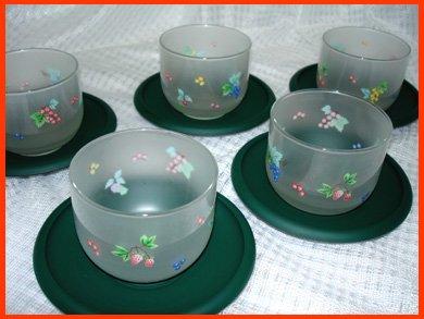 ☆KAMAY フルーツ柄の冷茶グラス 茶托付き 5客セット