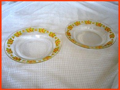 ☆昭和レトロ食器 花柄ガラス皿 2枚セット
