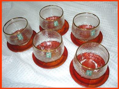 ☆昭和レトロ 京の四季冷茶グラス 茶托付き 5客セット