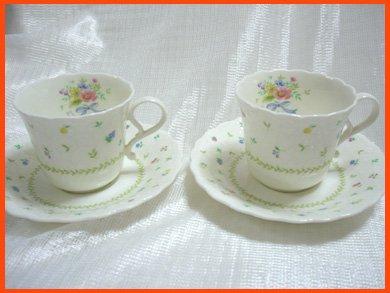 ☆ナルミ(Narumi) コーヒーカップ 花柄とフルーツ柄が可愛い 2客セット