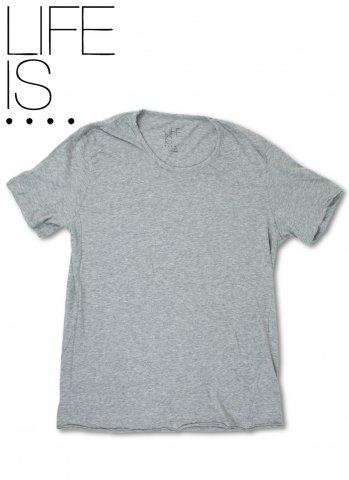 LIFE IS.... BALL NECK TEE ライフイズ ボールネック Tシャツ 日本製 グレー