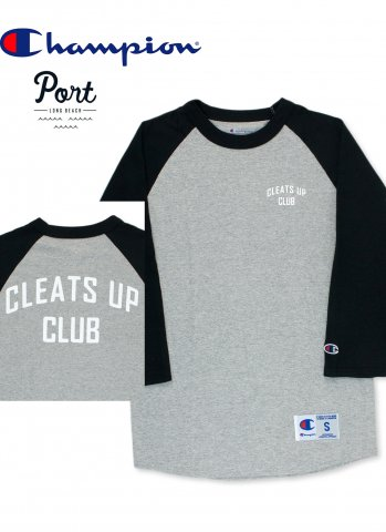PORT LONG BEACH CLEATS UP BASEBALL TEE ポートロングビーチ ベースボール Tシャツ グレー/ブラック