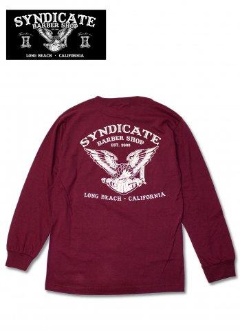 SYNDICATE BARBER SHOP シンジケートバーバーショップ Eagle Tシャツ 長袖 バックプリント マルーン