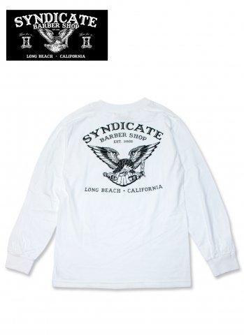 SYNDICATE BARBER SHOP シンジケートバーバーショップ Eagle Tシャツ 長袖 バックプリント ホワイト