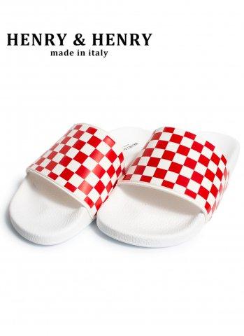 HENRY&HENRY 180 checkr ヘンリーヘンリー サンダル イタリア製 bianco/RED WHT CHECKR WHITE SOLE