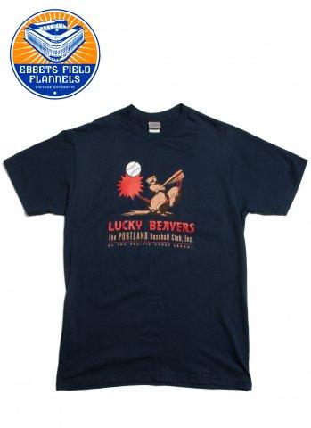 Ebbets Field Flannels Portland Lucky Beavers 1947 エベッツフィールドフランネルズ ラッキービーバーズ Tシャツ ネイビー