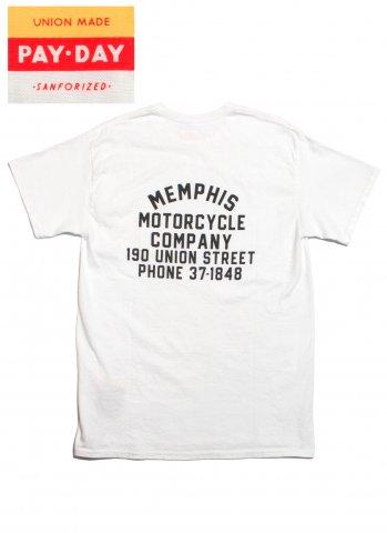 PAYDAY ペイデイ MEMPHIS Tシャツ バックプリント 胸ポケット付き ホワイト