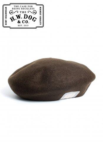 THE H.W.DOG&CO. BERET ドッグアンドコー ウール ベレー帽 D-00022 カーキ