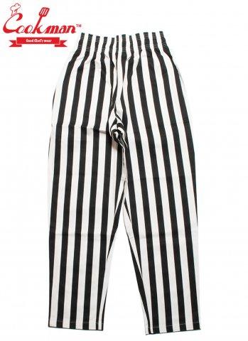 COOKMAN Chef Pants Wide stripe クックマン シェフパンツ  ワイドストライプ ブラック/ホワイト