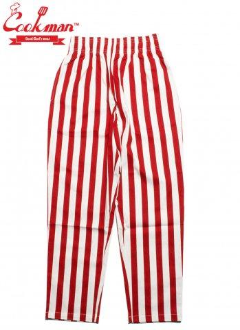 COOKMAN Chef Pants Wide stripe クックマン シェフパンツ  ワイドストライプ レッド/ホワイト