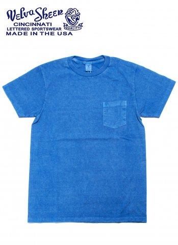 Velva Sheen ベルバシーン ポケット付き クルーネック Tシャツ ピグメントダイ アメリカ製 ブルー