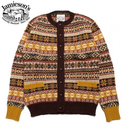 JAMIESON'S ジャミーソンズ クルーネックカーディガン シェットランドウール フェアアイル柄 スコットランド製 ブラウン