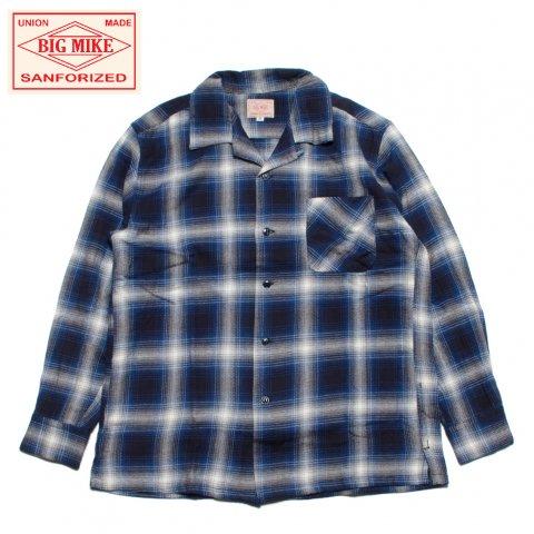 BIG MIKE ビッグマイク ライトフランネル オープンカラーシャツ チェック柄 グレー/ネイビー