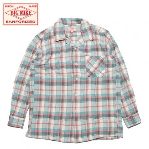 BIG MIKE ビッグマイク ライトフランネル オープンカラーシャツ チェック柄 ピンク/サックス