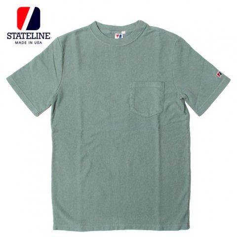 STATELINE 7.25oz RUGBY S/S TEE GARMENT DYE ステートライン 製品染め ポケット付き 半袖Tシャツ アメリカ製 オリーブグレー