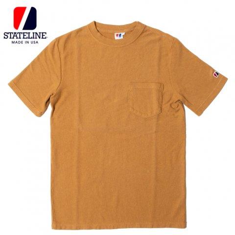 STATELINE 7.25oz RUGBY S/S TEE GARMENT DYE ステートライン 製品染め ポケット付き 半袖Tシャツ アメリカ製 コヨーテ