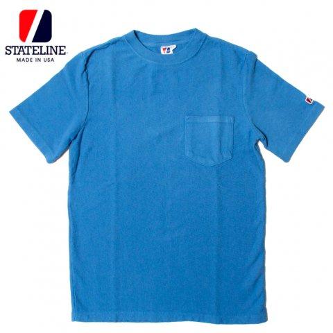 STATELINE 7.25oz RUGBY S/S TEE GARMENT DYE ステートライン 製品染め ポケット付き 半袖Tシャツ アメリカ製 ブルー