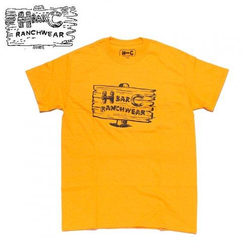 H BAR C エイチバーシー プリント Tシャツ サインポスト Signpost ゴールド