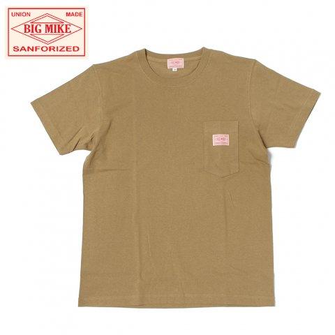 BIG MIKE ビッグマイク サングラスポケット Tシャツ 7.2oz キャメル