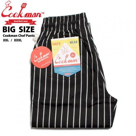 COOKMAN Chef Pants Big Size クックマン シェフパンツ ビッグサイズ ピンストライプ ブラック