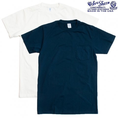 Velva Sheen ベルバシーン Tシャツ 2パック ポケット付き アメリカ製 ホワイト/ネイビー