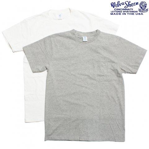 Velva Sheen ベルバシーン Tシャツ 2パック ポケット付き アメリカ製 ホワイト/グレー