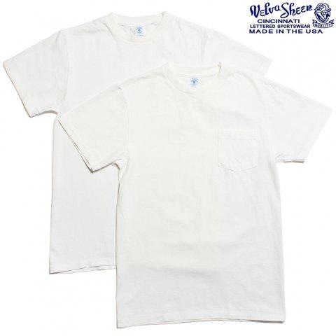 Velva Sheen ベルバシーン Tシャツ 2パック ポケット付き アメリカ製 ホワイト/ホワイト