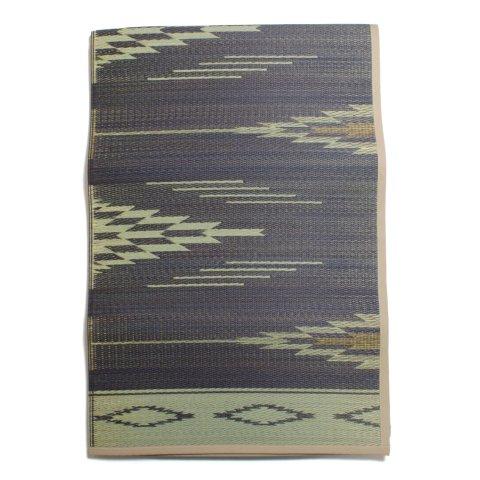 BasShu バッシュ い草ラグ IGUSA RUG 140×200 ネイティブパターン 日本製 ネイビー×ナチュラル