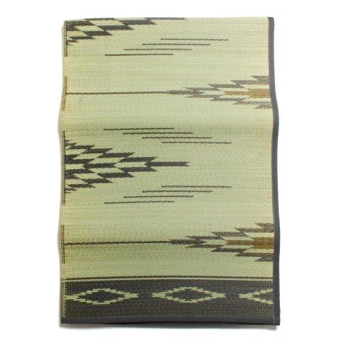 BasShu バッシュ い草ラグ IGUSA RUG 140×200 ネイティブパターン 日本製 ナチュラル×グレー