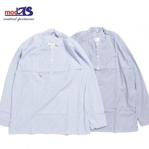 modAS モダス フィッシャーマンシャツ バンドカラー ストライプ プルオーバー Art1003