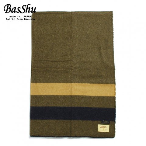 BasShu バッシュ ウールブランケット 130×180 ボーダー 泉大津 日本製 Wool Blanket カーキ×ネイビー