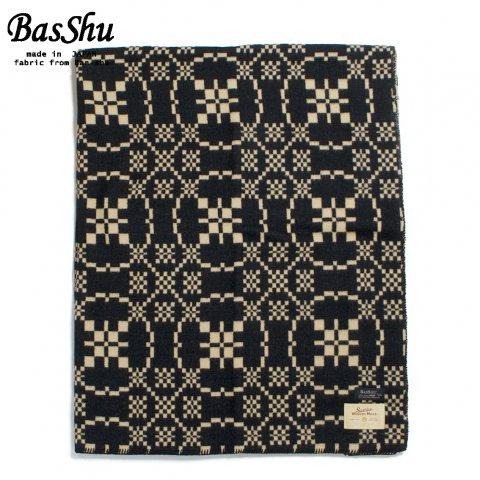BasShu バッシュ ウールブランケット 153×180 ジャガード 泉大津 日本製 Wool Blanket ブラック
