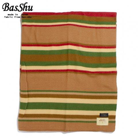 BasShu バッシュ ウールブランケット 153×180 ボーダー 泉大津 日本製 Wool Blanket キャメル