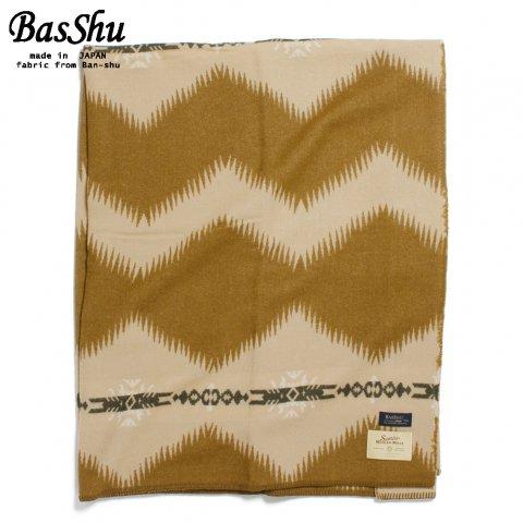 BasShu バッシュ ウールブランケット 153×180 ボーダー ネイティブ 泉大津 日本製 Wool Blanket ライトブラウン
