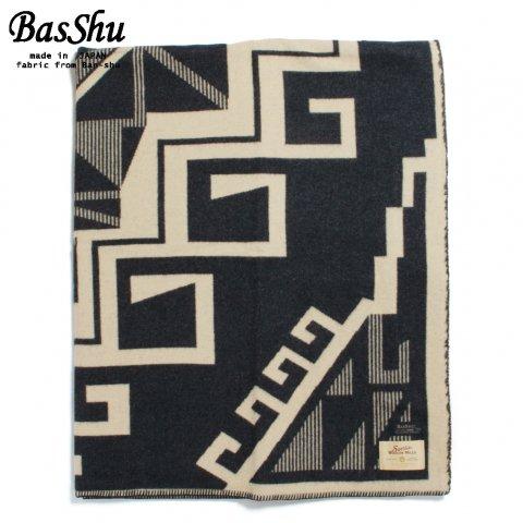 BasShu バッシュ ウールブランケット 153×180 ジャガード ネイティブ 泉大津 日本製 Wool Blanket チャコールグレー