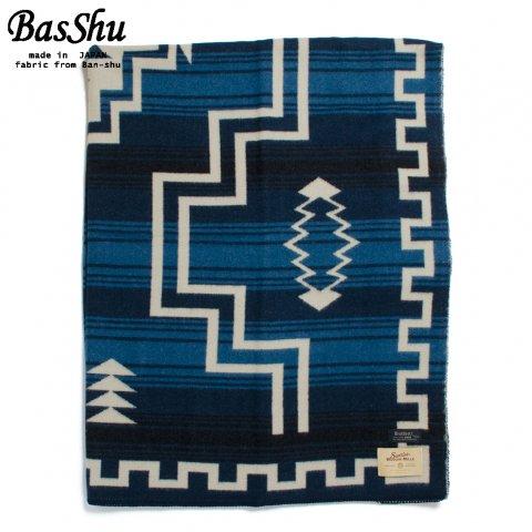 BasShu バッシュ ウールブランケット 153×180 ジャガード ナバホ 泉大津 日本製 Wool Blanket ブルー