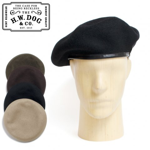 THE H.W.DOG&CO. ドッグアンドコー ベレー帽 ウール LEATHER BERET 62 D-00625 日本製