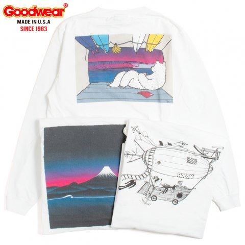 JONAS CLAESSON for GOODWEAR L/S PRINT POCKET TEE ジョナス クレアッソン ロングスリーブ バックプリント Tシャツ