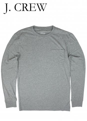 J.CREW ジェイクルー ポケット付き ロングスリーブ Tシャツ グレー