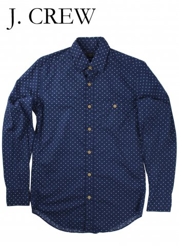 <img class='new_mark_img1' src='//img.shop-pro.jp/img/new/icons20.gif' style='border:none;display:inline;margin:0px;padding:0px;width:auto;' />J.CREW ジェイクルー 抜染総柄 隠しボタンダウン シャツ ネイビー/ホワイト