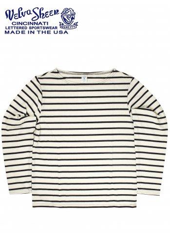 Velva Sheen BlueRebel ベルバシーン ブルーレーベル UNEVEN BORDER ロングスリーブTシャツ ホワイト/ネイビー