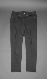 TEARS OF SWAN-DAMAGE BLACK SKINNY PANTS