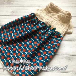 アラン&フラワーワンピ(blue*orange)