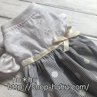 フリル袖のワンピ(stripe*dot)