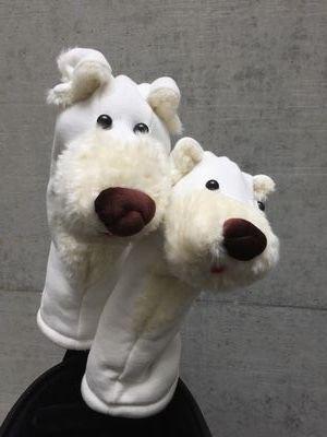 犬のヘッドカバー DR・FW用2個セット ホワイト